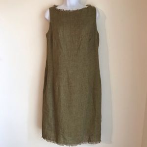 🌻 Ellen Tracy Olive Green Linen Dress Size 10 🌻